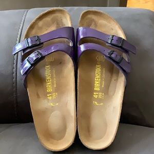 EUC Birkenstock purple patten leather sandals.